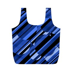 Blue pattern Full Print Recycle Bags (M)