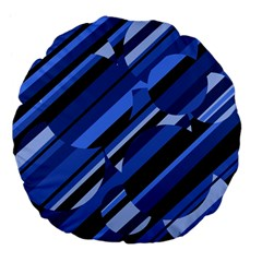 Blue pattern Large 18  Premium Flano Round Cushions