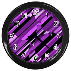 Purple pattern Wall Clocks (Black)