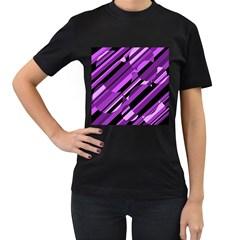 Purple pattern Women s T-Shirt (Black) (Two Sided)