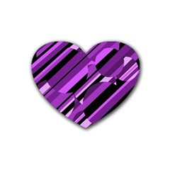 Purple pattern Rubber Coaster (Heart)
