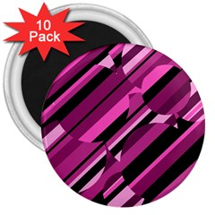 Magenta pattern 3  Magnets (10 pack)