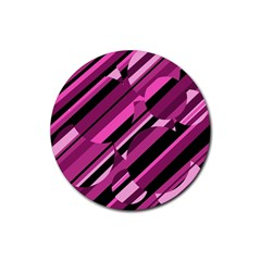 Magenta pattern Rubber Round Coaster (4 pack)