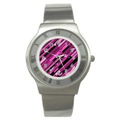 Magenta pattern Stainless Steel Watch