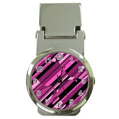 Magenta pattern Money Clip Watches