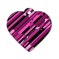 Magenta pattern Dog Tag Heart (Two Sides)