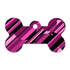 Magenta pattern Dog Tag Bone (One Side)
