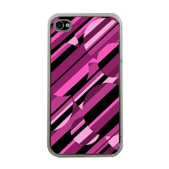 Magenta pattern Apple iPhone 4 Case (Clear)