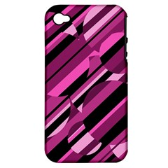 Magenta pattern Apple iPhone 4/4S Hardshell Case (PC+Silicone)