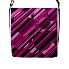 Magenta pattern Flap Messenger Bag (L)
