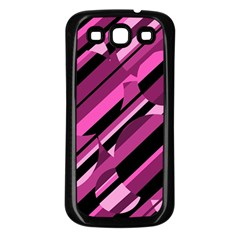 Magenta pattern Samsung Galaxy S3 Back Case (Black)