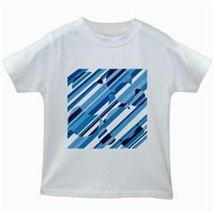 Blue pattern Kids White T-Shirts