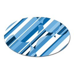 Blue Pattern Oval Magnet