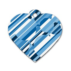 Blue pattern Dog Tag Heart (Two Sides)