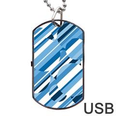 Blue pattern Dog Tag USB Flash (One Side)
