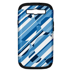 Blue pattern Samsung Galaxy S III Hardshell Case (PC+Silicone)