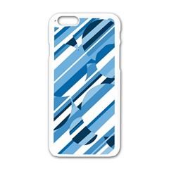 Blue pattern Apple iPhone 6/6S White Enamel Case