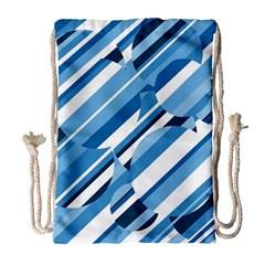 Blue pattern Drawstring Bag (Large)