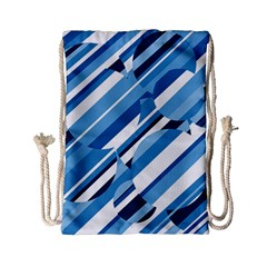 Blue pattern Drawstring Bag (Small)