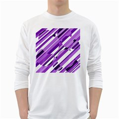 Purple pattern White Long Sleeve T-Shirts