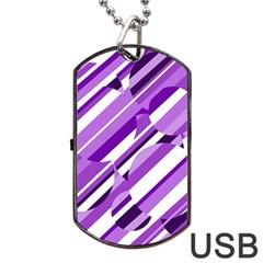 Purple pattern Dog Tag USB Flash (One Side)
