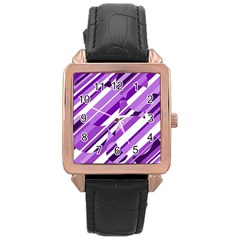 Purple pattern Rose Gold Leather Watch