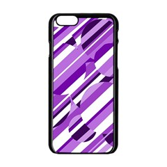 Purple pattern Apple iPhone 6/6S Black Enamel Case