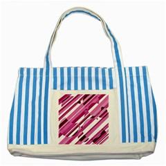 Magenta pattern Striped Blue Tote Bag