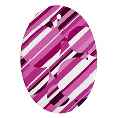 Magenta pattern Oval Ornament (Two Sides)