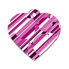 Magenta pattern Dog Tag Heart (One Side)