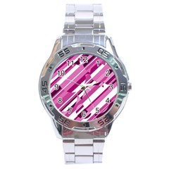 Magenta pattern Stainless Steel Analogue Watch