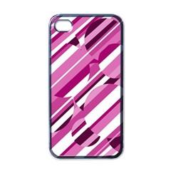 Magenta pattern Apple iPhone 4 Case (Black)