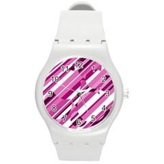 Magenta pattern Round Plastic Sport Watch (M)
