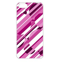 Magenta pattern Apple iPhone 5 Seamless Case (White)
