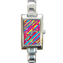 Colorful summer pattern Rectangle Italian Charm Watch