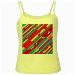 Colorful summer pattern Yellow Spaghetti Tank