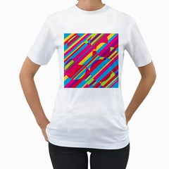 Colorful summer pattern Women s T-Shirt (White) (Two Sided)