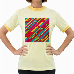 Colorful summer pattern Women s Fitted Ringer T-Shirts