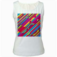 Colorful summer pattern Women s White Tank Top