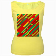 Colorful summer pattern Women s Yellow Tank Top