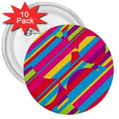 Colorful summer pattern 3  Buttons (10 pack)