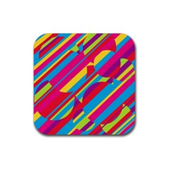 Colorful summer pattern Rubber Square Coaster (4 pack)