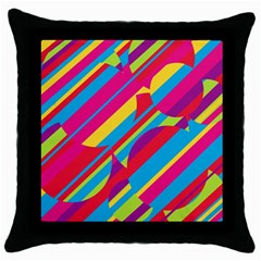 Colorful summer pattern Throw Pillow Case (Black)