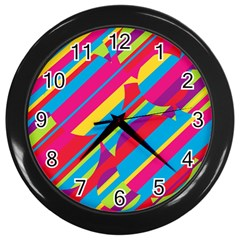 Colorful summer pattern Wall Clocks (Black)