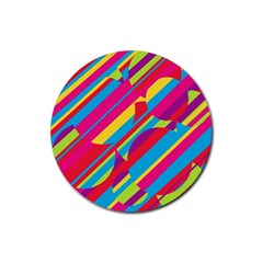 Colorful summer pattern Rubber Coaster (Round)