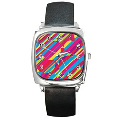 Colorful summer pattern Square Metal Watch