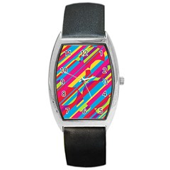 Colorful summer pattern Barrel Style Metal Watch