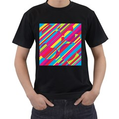 Colorful summer pattern Men s T-Shirt (Black) (Two Sided)