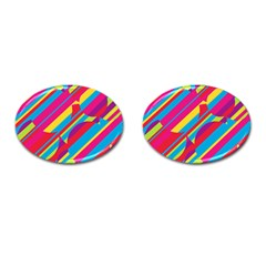 Colorful summer pattern Cufflinks (Oval)