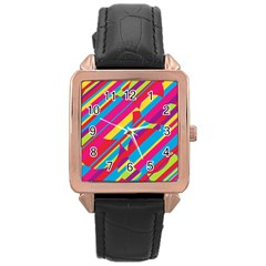 Colorful summer pattern Rose Gold Leather Watch